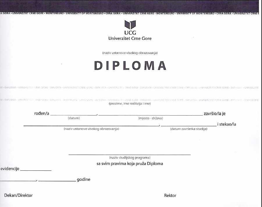 Obavještenje o preuzimanju diploma