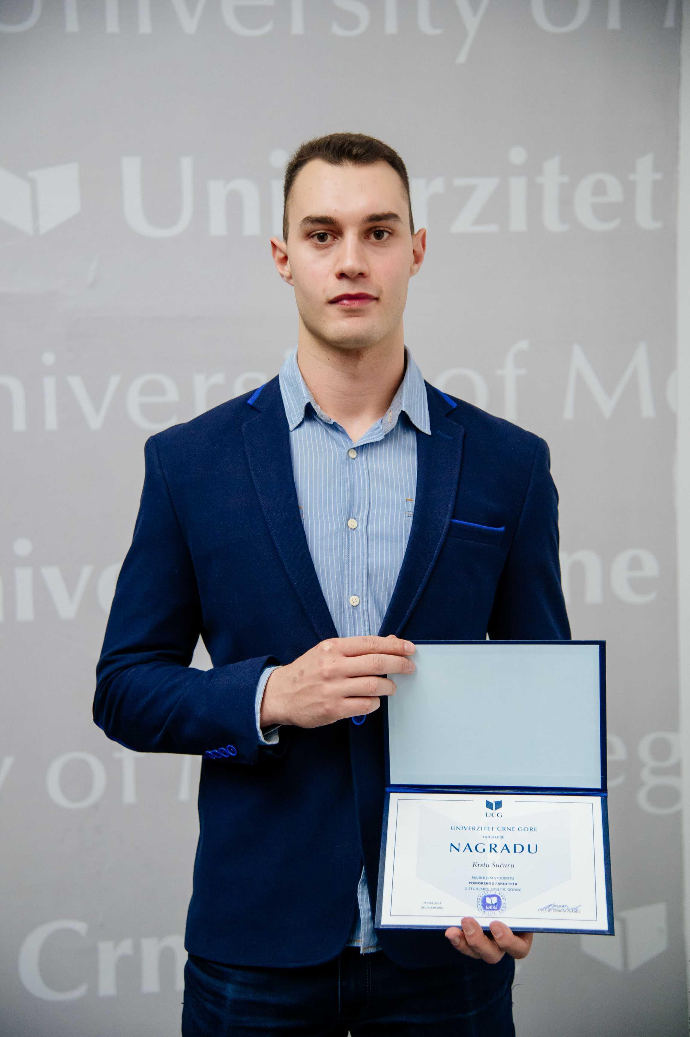 Krsto Šućur, najbolji student Pomorskog fakulteta