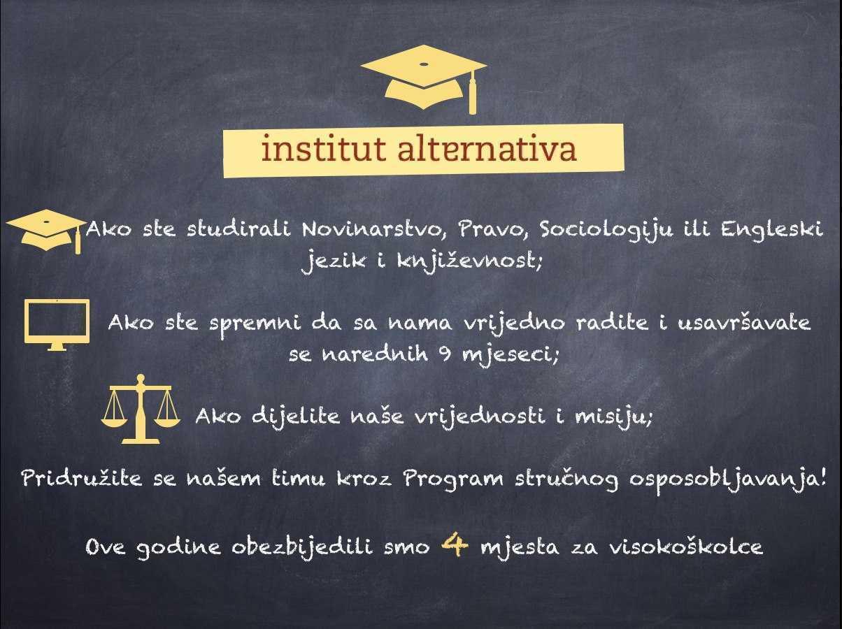 Institut alternativa za ovu godinu obezbijedio mjesta za 4 pripravnika/ce