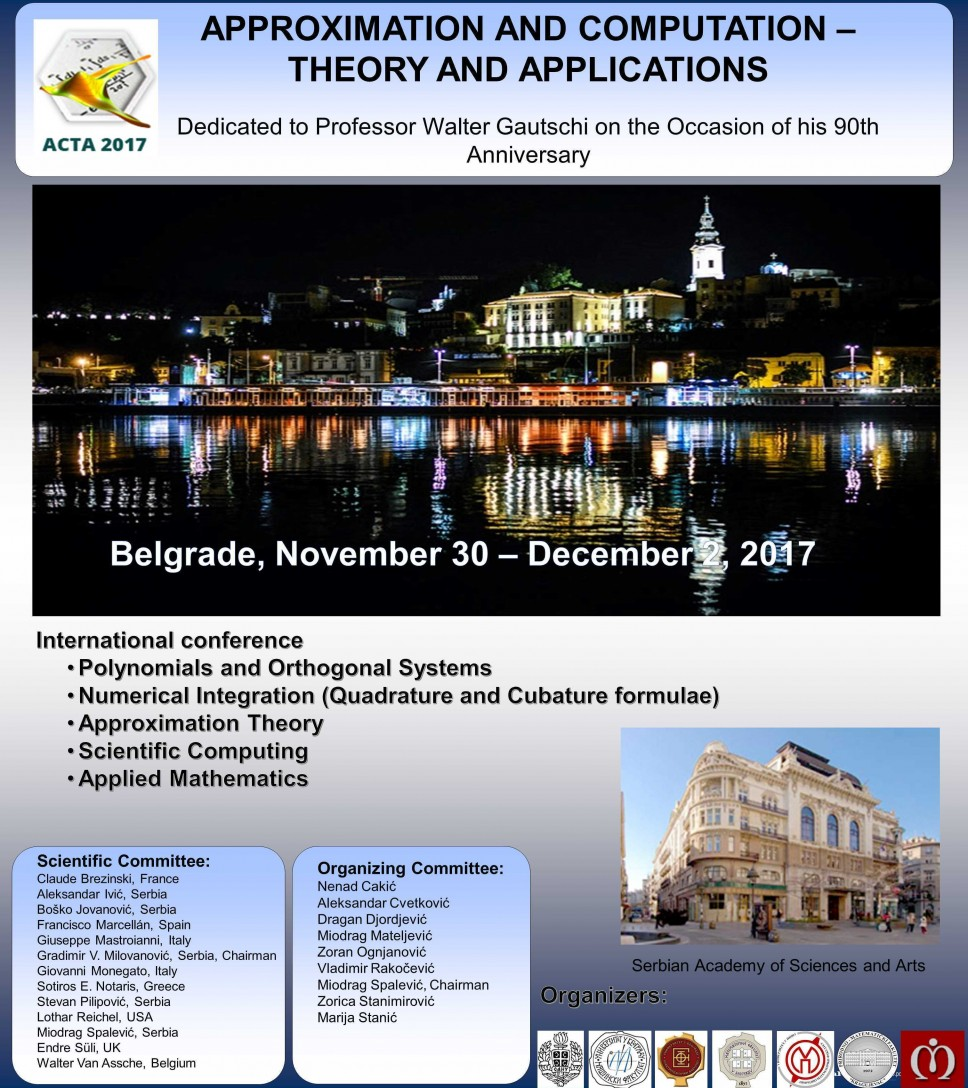 ACTA 2017: APPROXIMATION AND COMPUTATION – THEORY AND APPLICATIONS