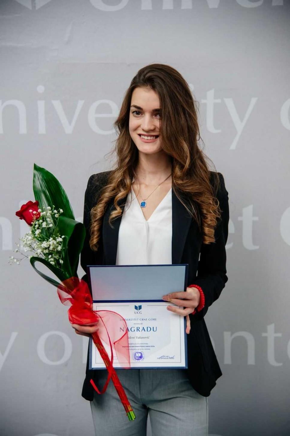 Jelena Vukasović, najbolji student Prirodno-matematičkog fakulteta