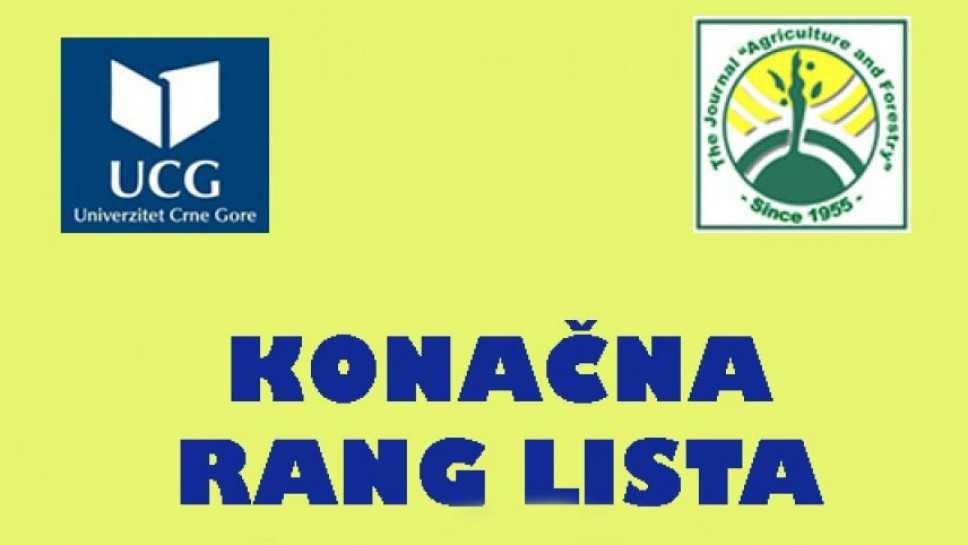 Konačna rang lista kandidata prijavljenih za upis na prvu godinu studija, II upisni rok JUL, 2019. godine