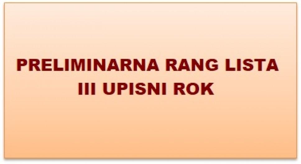 Preliminarna rang lista kandidata prijavljenih za upis na prvu godinu studija, III upisni rok AVG, 2019. godine
