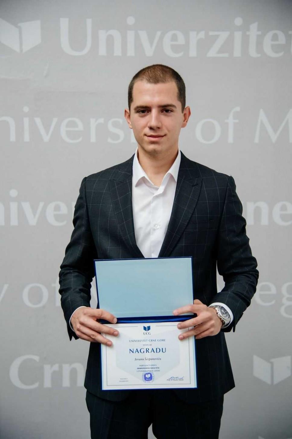 Jovan Šćepanović, najbolji student Građevinskog fakulteta