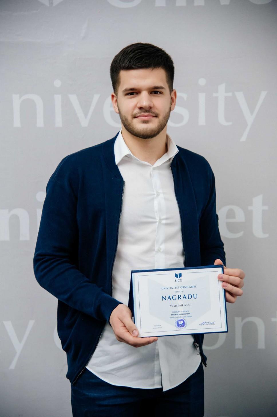 Vuk Bošković, najbolji student Mašinskog fakulteta