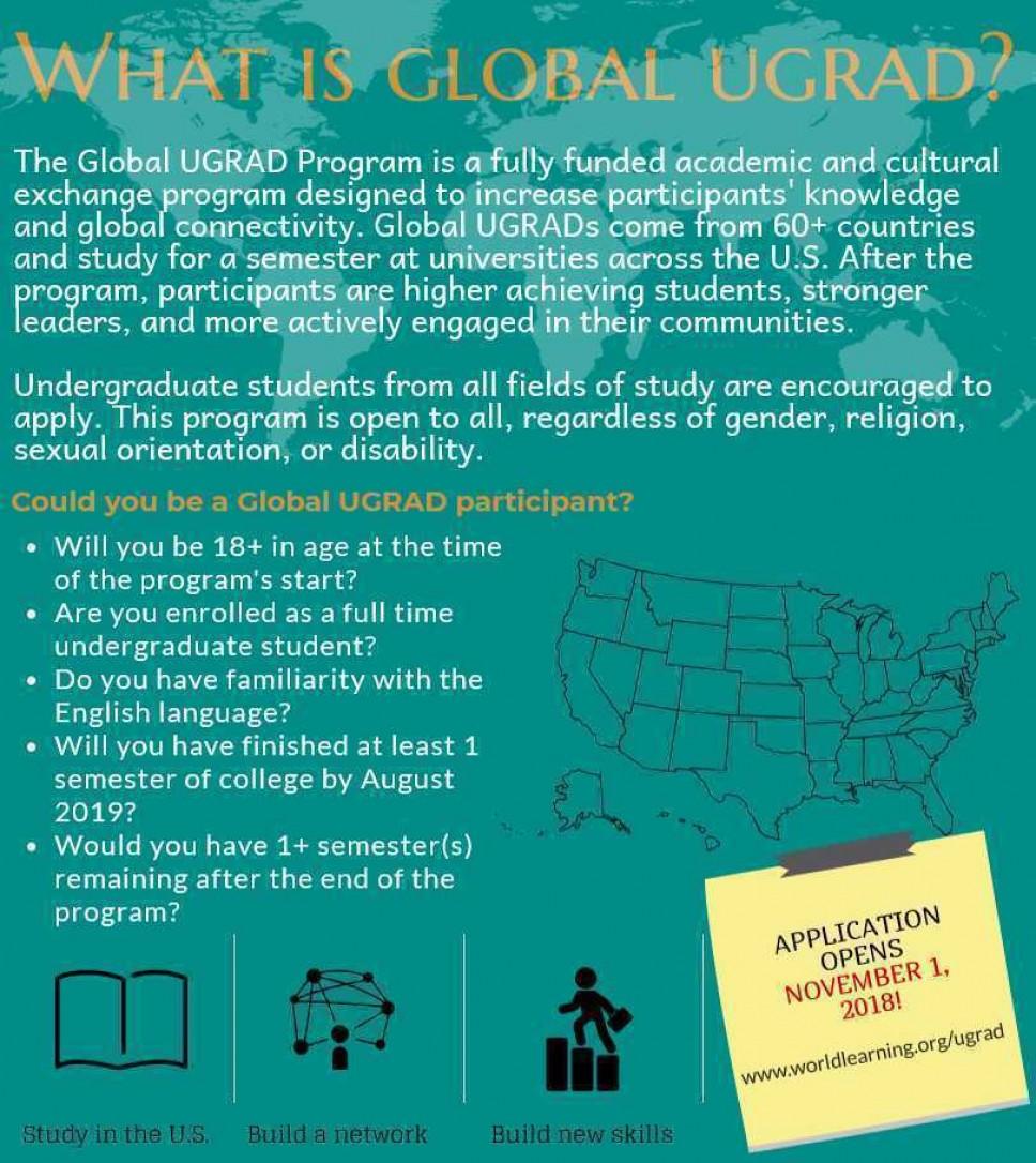 Konkurs za Global Undergraduate Exchange Program (Global UGRAD) stipendiju