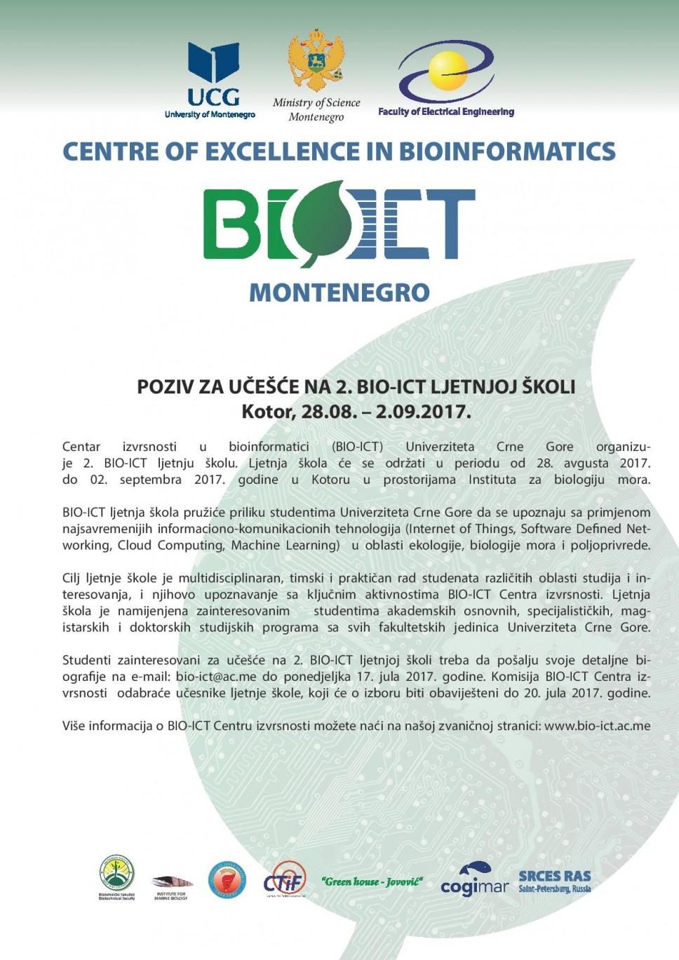 Poziv za 2. BIO-ICT ljetnju školu u Kotoru