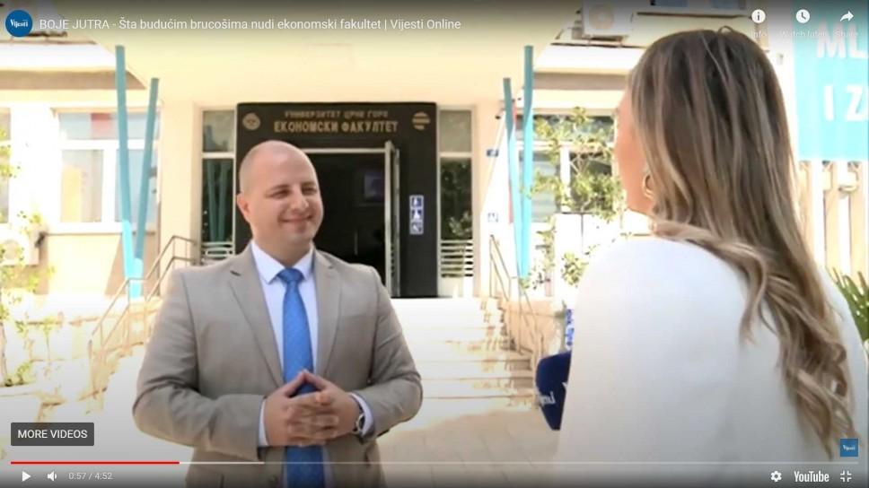 Šta Ekonomski fakultet nudi budućim brucošima - intervju dekana Milovića za TV Vijesti