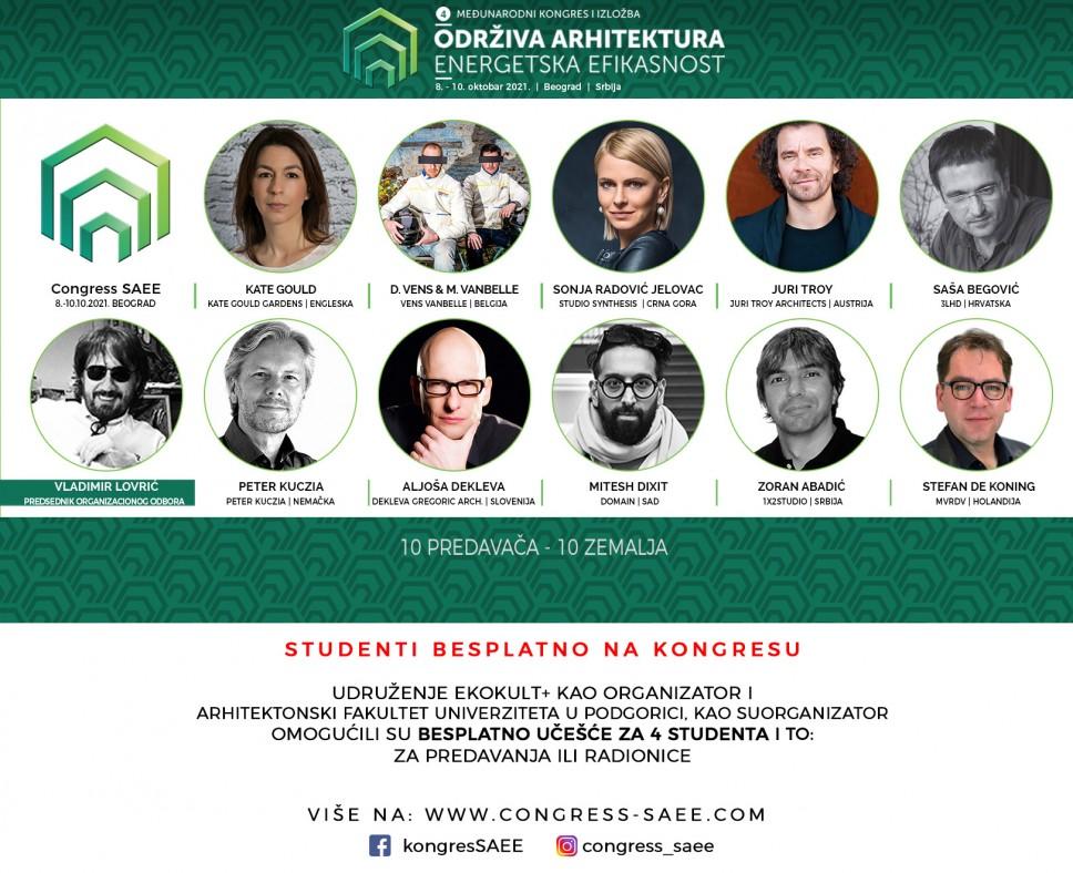Prijava za 4 besplatne kotizacije za studente na međunarodnom kongresu i izložbi ,,Održiva Arhitektura - Energetska Efikasnost
