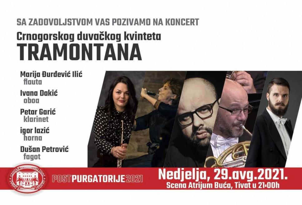 Koncert Crnogorskog Duvačkog kvinteta Tramontana 29. avgusta