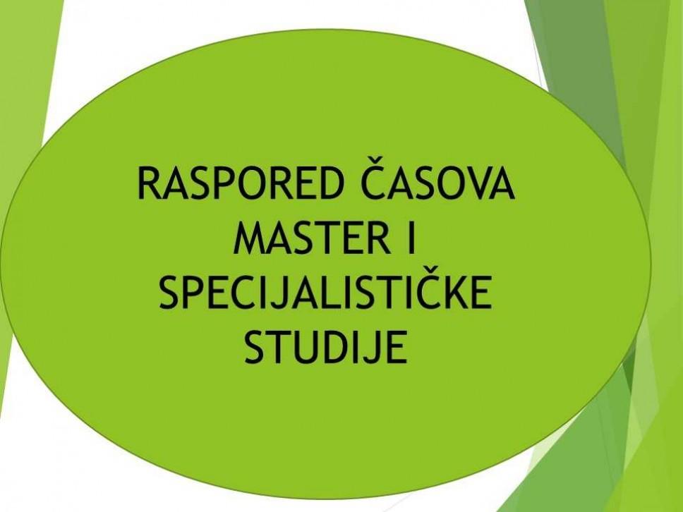 Raspored  časova  - master i specijalističke studije