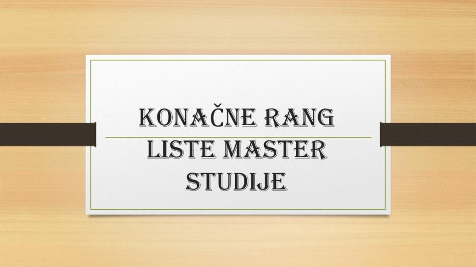 Konačne rang liste za upis na master studije