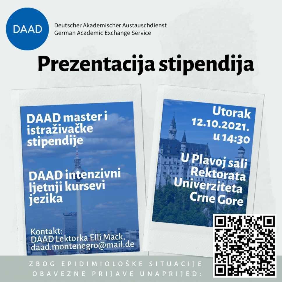 Prezentacija DAAD njemačkog programa stipendija 12. oktobra