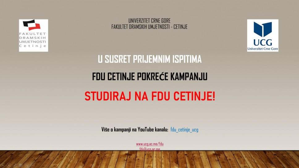 Istaknuti alumnisti Fakulteta dramskih umjetnosti UCG dio kampanje: Studiraj na FDU Cetinje
