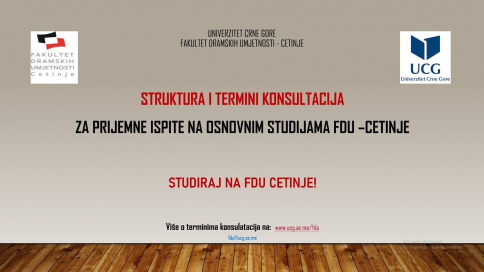 Stuktura i termini konsultacija za prijemne ispite na osnovnim studijama FDU - Cetinje