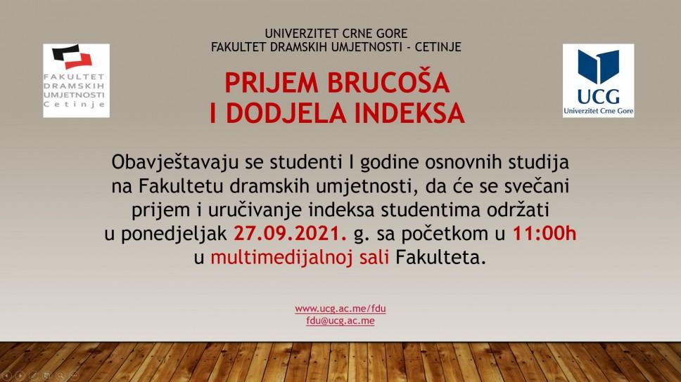 Prijem brucoša i uručivanje indeksa na FDU - Cetinje u ponedeljak, 27.09.2021.g. u 11h