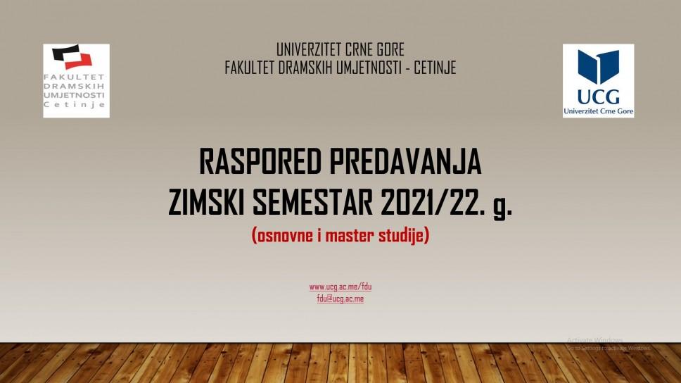 Raspored predavanja u zimskom semestru 2021/21. g. na osnovnim i master studijama FDU - Cetinje
