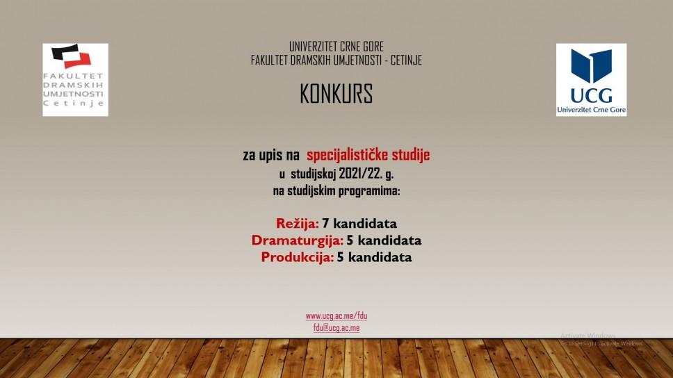Konkurs za upis na specijalističke studije u studijskoj 2021/22. g. FDU - Cetinje