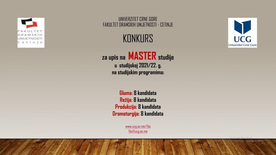 Konkurs  za upis u I godinu MASTER studija, obima 120 ECTS  kredita za studijsku 2021/22. g. na FDU - Cetinje