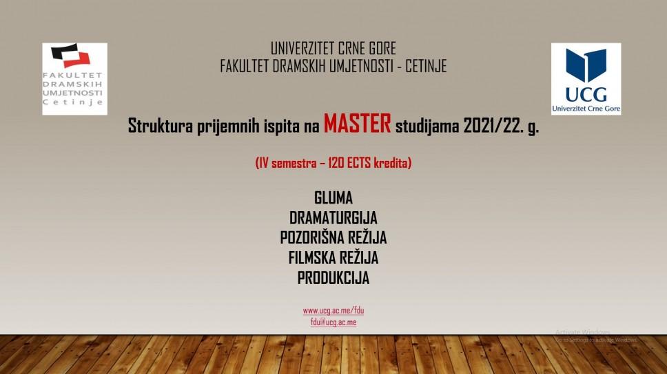 Struktura prijemnih ispita na MASTER studijama 2021/22. g. FDU - Cetinje (IV semestra – 120 ECTS kredita)