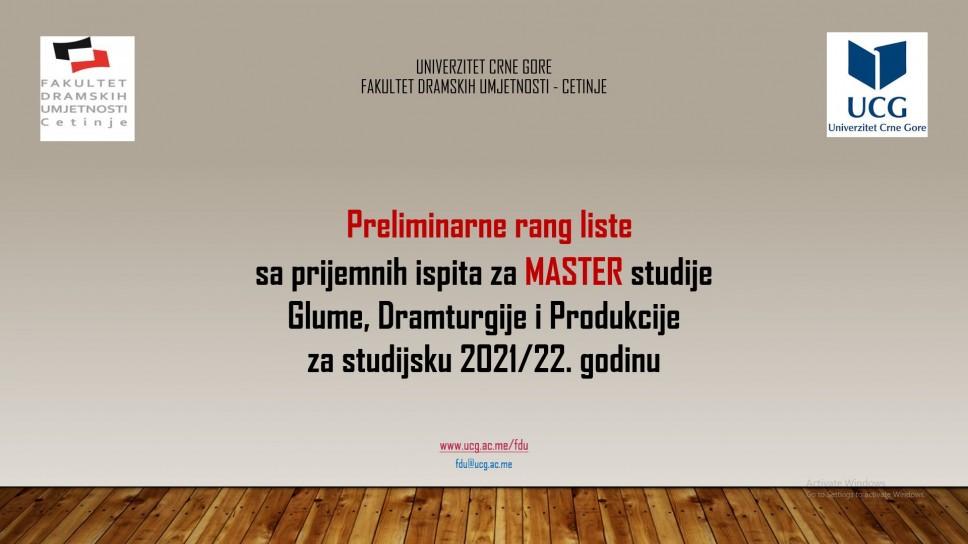 Preliminarne rang liste kandidata sa prijemnih ispita na master studijama: Režija, Gluma, Dramaturgija i Produkcija