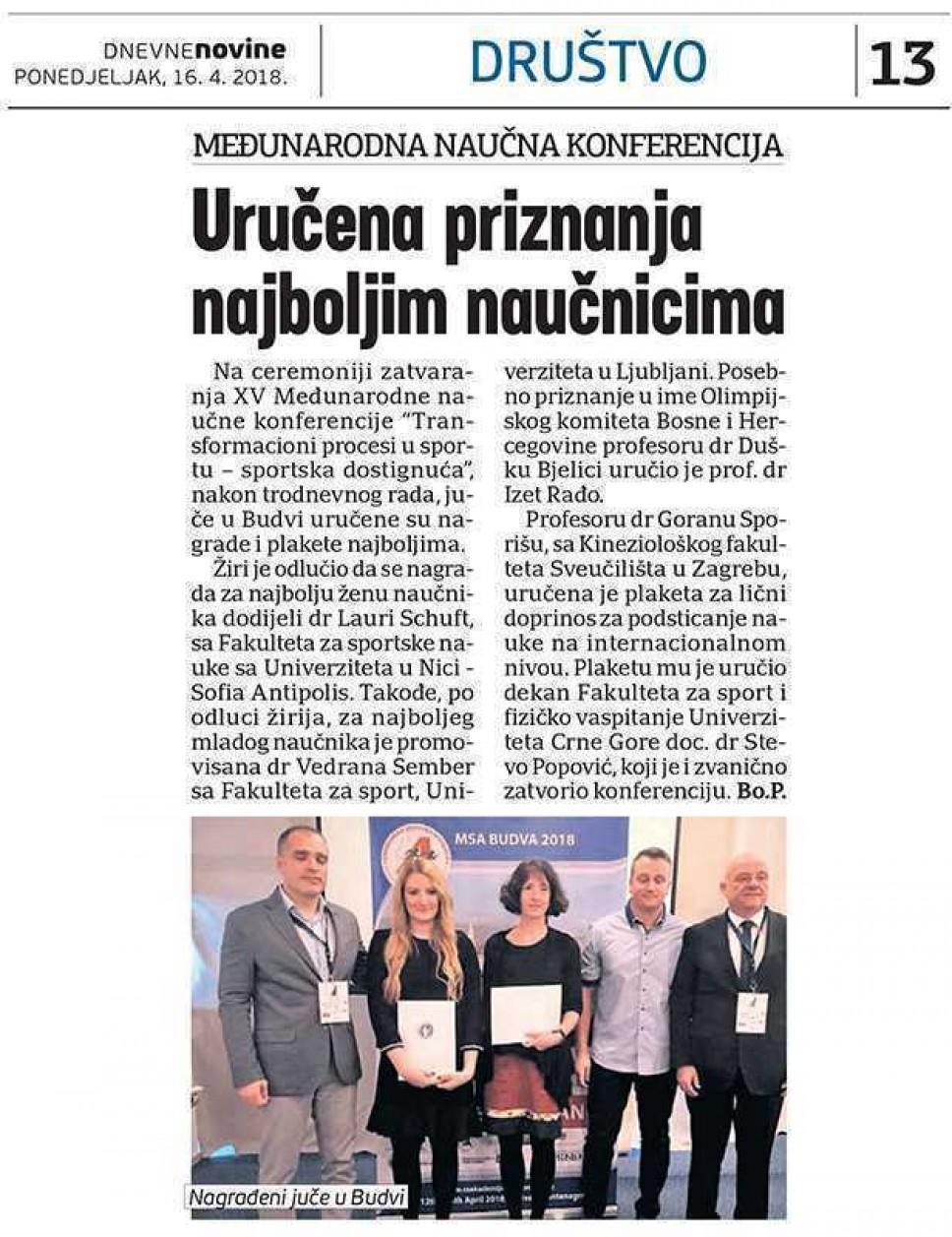 Dnevne novine, 16.04.2018.