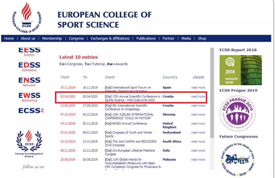 CSA konferencija u vrhu liste događaja Evropskog koledža sportskih nauka za 2020. godinu