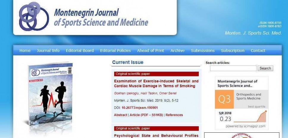 """Septembarsko izdanje naučnog časopisa  """"Montenegrin Journal of Sports Science and Medicine"""""""