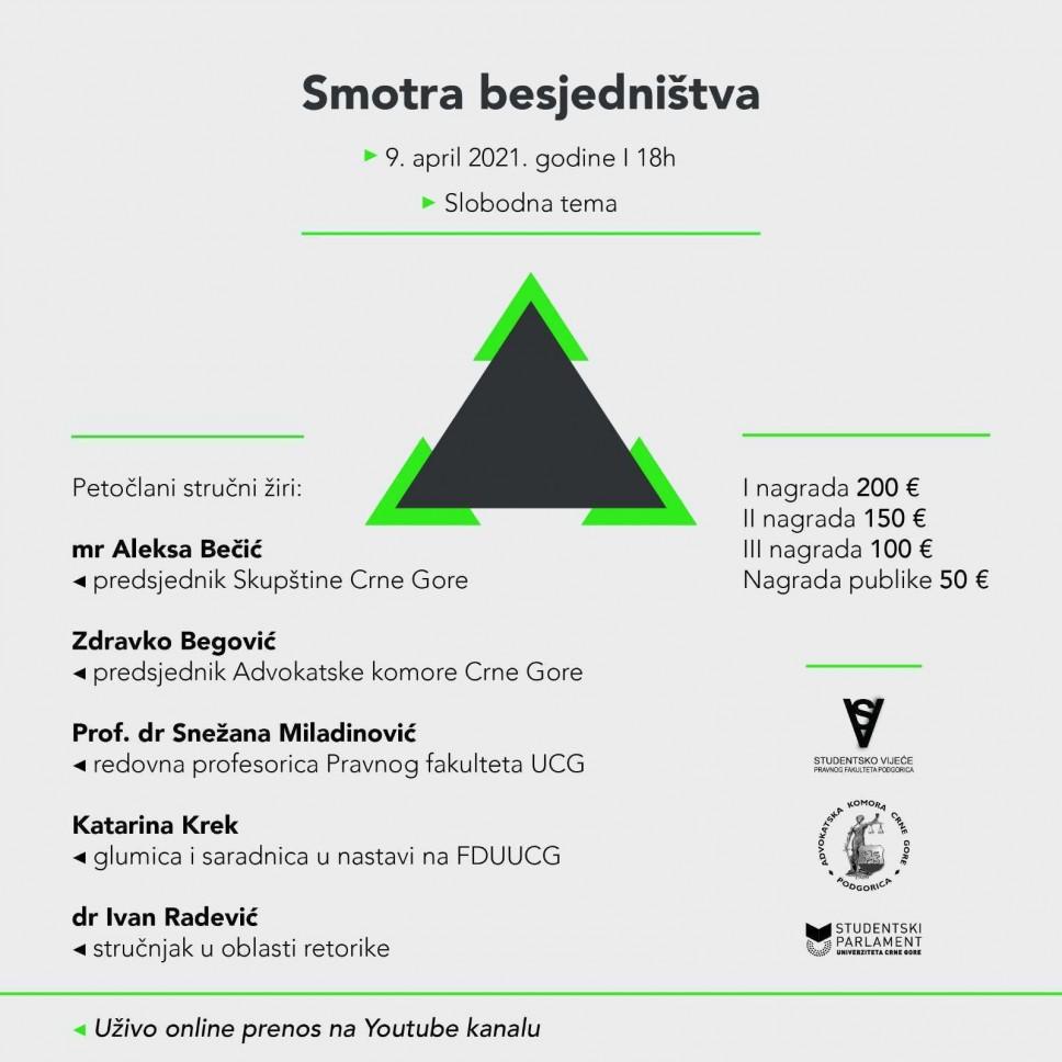 Smotra besjedništva za sve studente Univerziteta Crne Gore - 9. aprila
