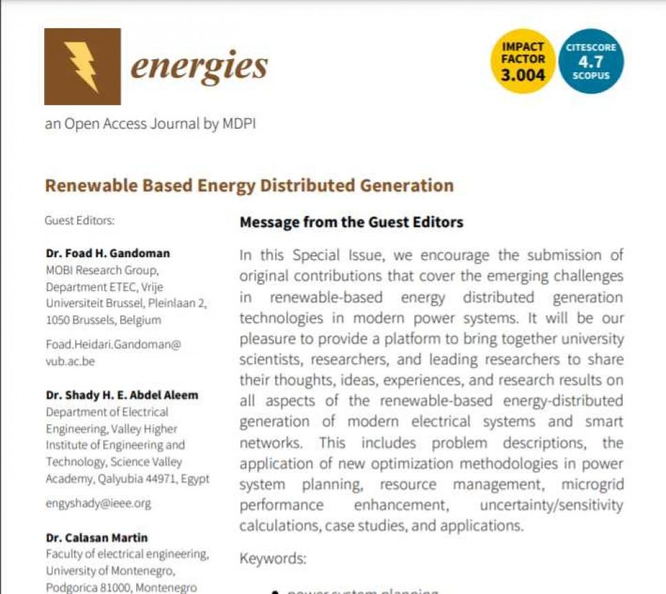 Poziv za predaju originalnih istraživačkih i preglednih radova za specijalno izdanje časopisa ENERGIES