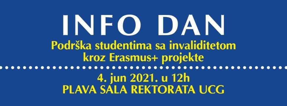 Info dan 4. juna: Podrška studentima sa invaliditetom kroz Erasmus+ projekte