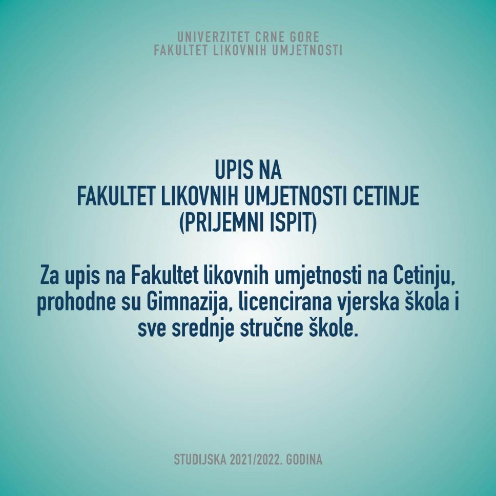 Upis na Fakultet likovnih umjetnosti Cetinje