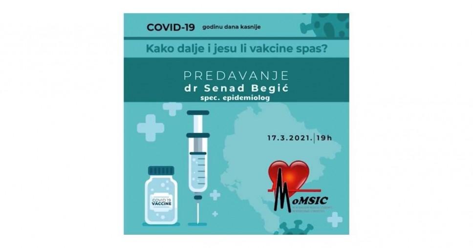 """Onlajn predavanje na temu """"COVID-19 godinu dana kasnije - Kako dalje i jesu li vakcine spas?"""""""