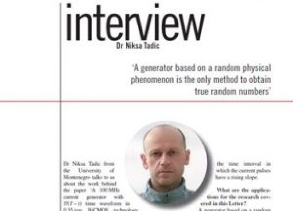 Intervju u časopisu Electronics letters