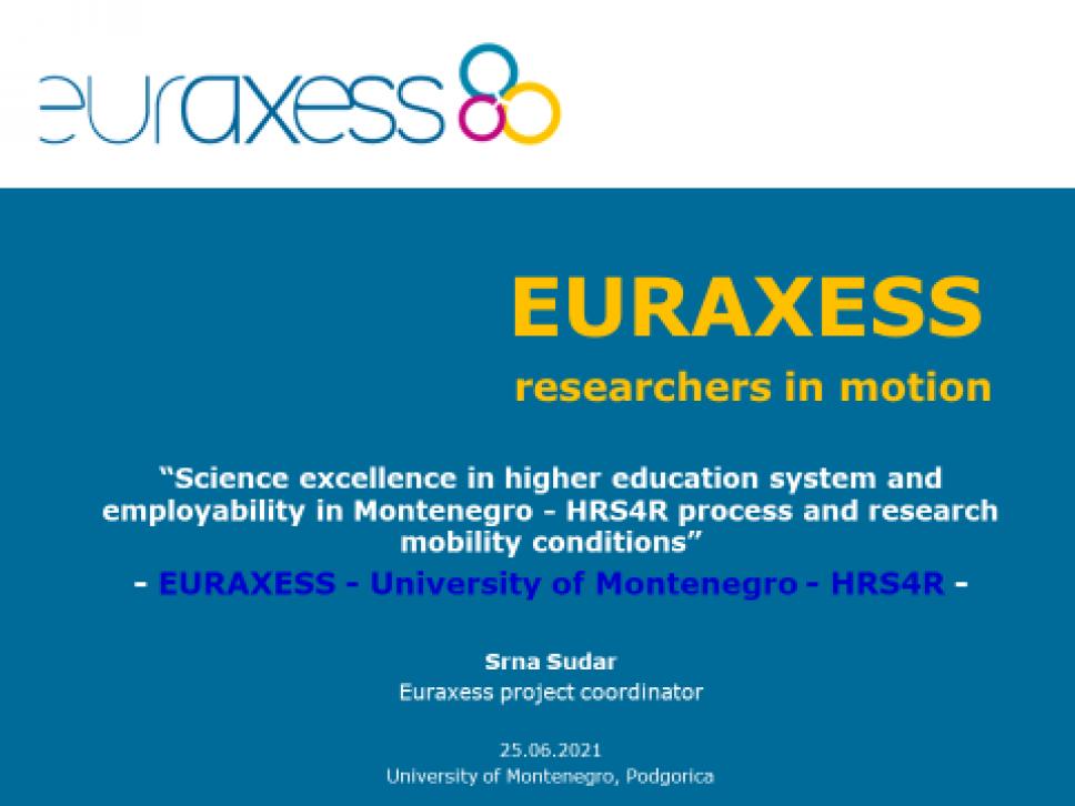 EURAXESS  radionica - Izvrsnost nauke u sistemu visokog obrazovanja i doprinos zapošljivosti u Crnoj Gori