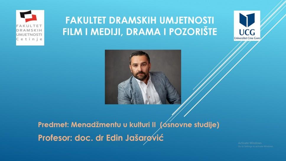 Novo online YouTube predavanje iz predmeta Menadžment u kulturi II, osnovne studije Drama i pozorište, film i mediji